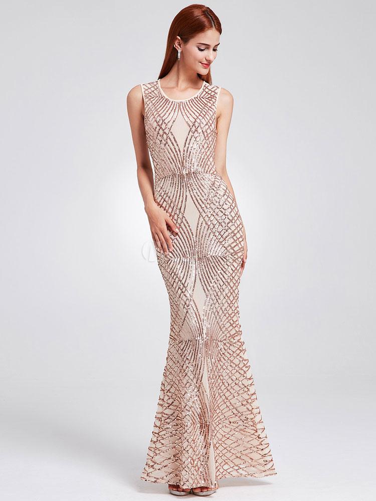 Sequin Evening Dress Mermaid Light Gold Sleeveless Floor Length Formal Dress