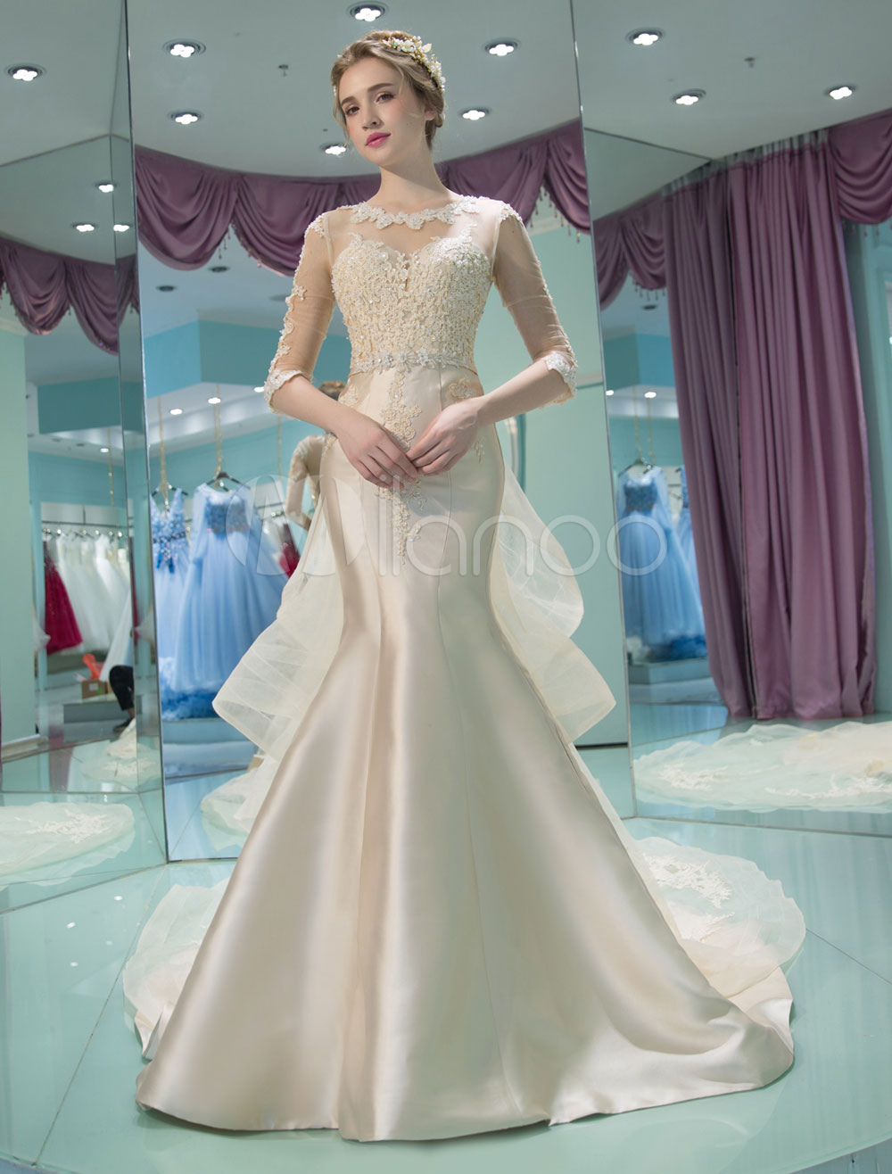 Champagne Wedding Dress Mermaid Half Sleeve Satin Bridal Dress ...
