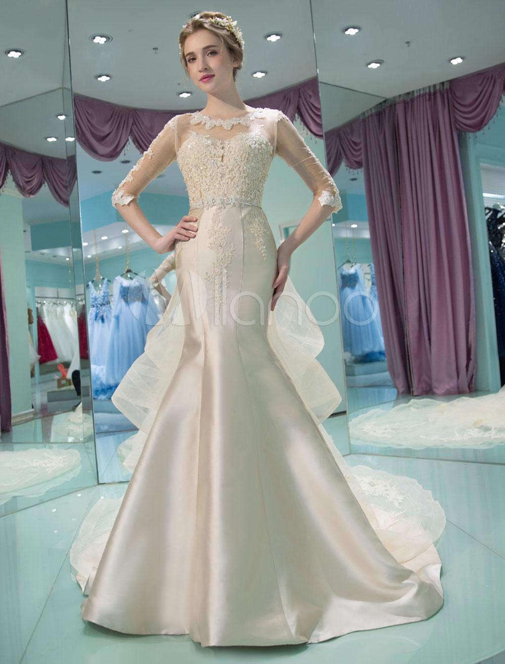 Vestido de novia de sirena con escote redondo cintura natural ...