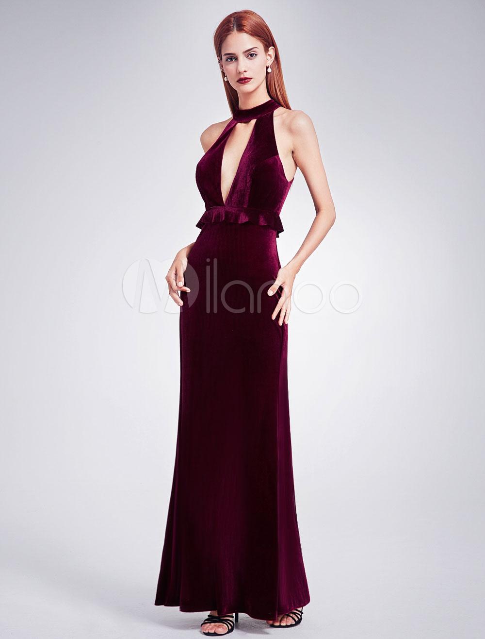 Buy Velvet Evening Dress Halter Burgundy Formal Dress V Neck Peplum Floor Length Prom Dress for $118.79 in Milanoo store