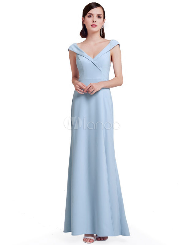 Long Prom Dress V Neck High Split Pastel Blue Bridesmaid Dress
