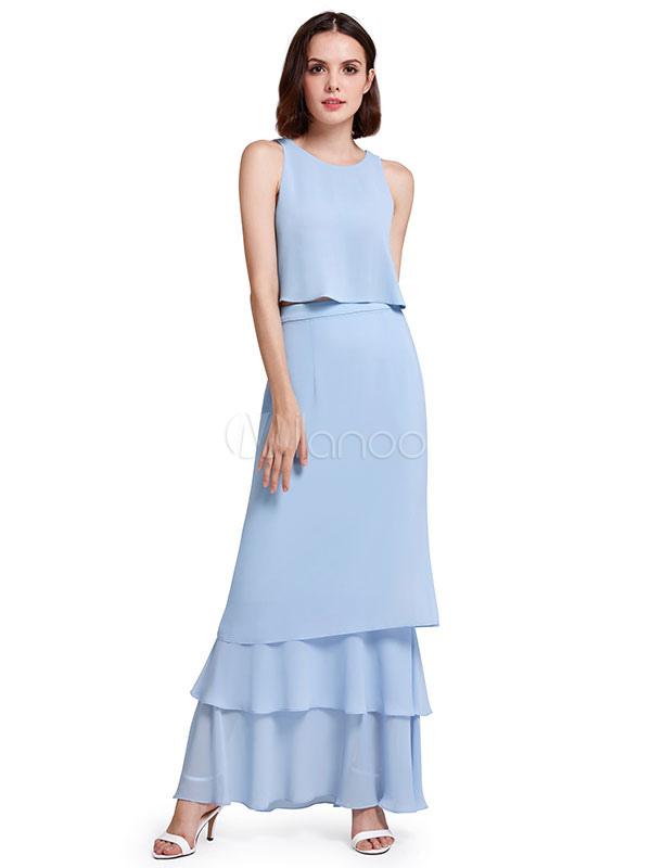Long Prom Dress Two Piece Chiffon Ruffles Tiered Back Design Formal Party Dress