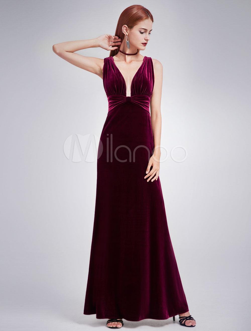 Buy Velvet Evening Dress V Neck Long Prom Dress Ruched Sleeveless Floor Length Formal Dress for $118.79 in Milanoo store