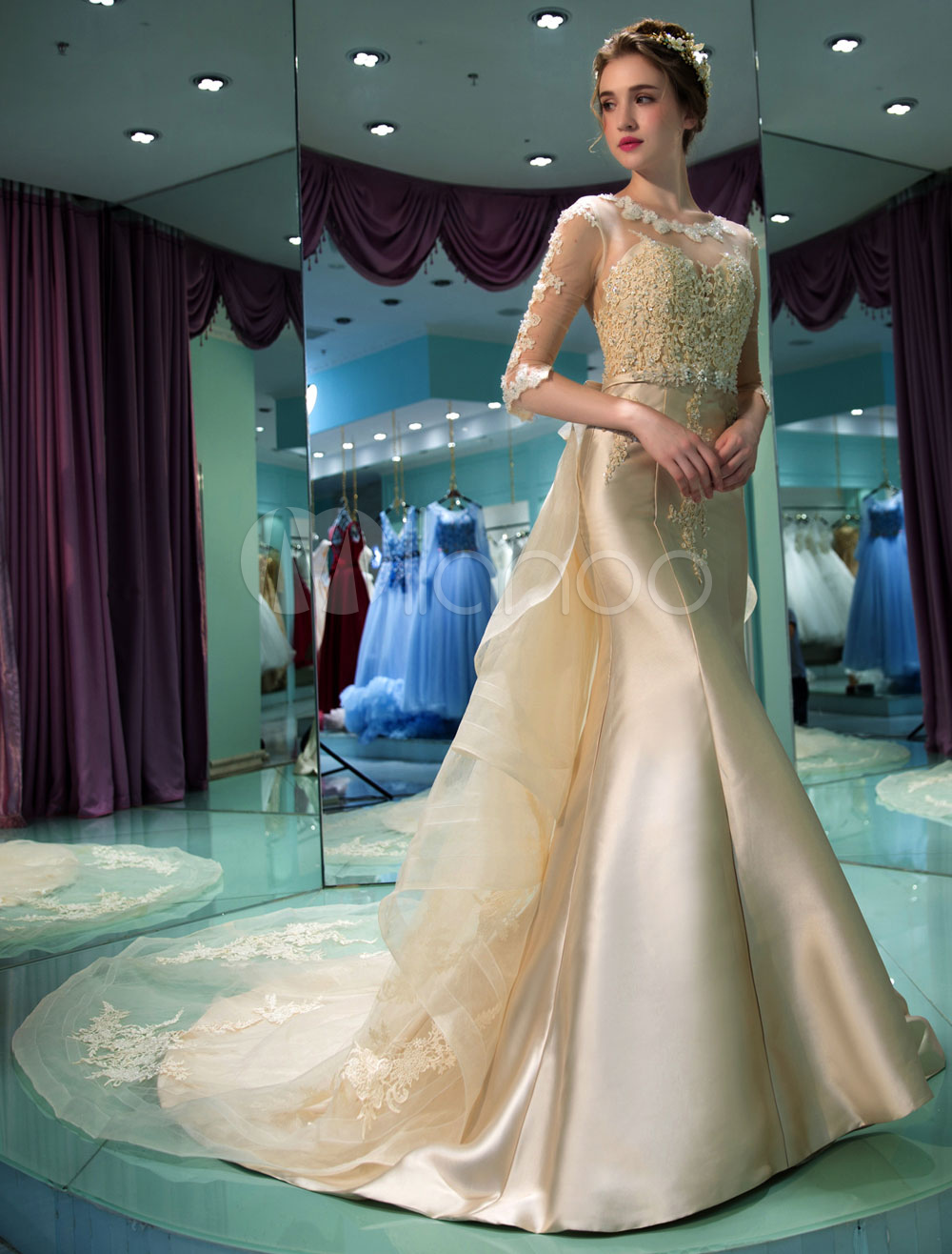 Champagne Wedding Dress Mermaid Half Sleeve Satin Bridal Dress Illusion Lace Beaded Sash Wedding Gown With Train