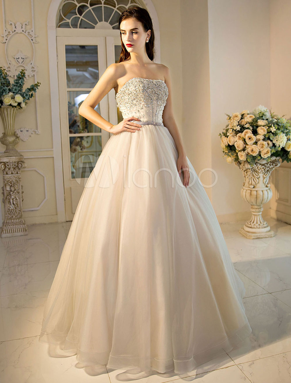 Buy Princess Quinceanera Dress Strapless Wedding Dress Sweetheart Neckline Beaded Sash Tulle Floor Length Bridal Gown for $237.59 in Milanoo store