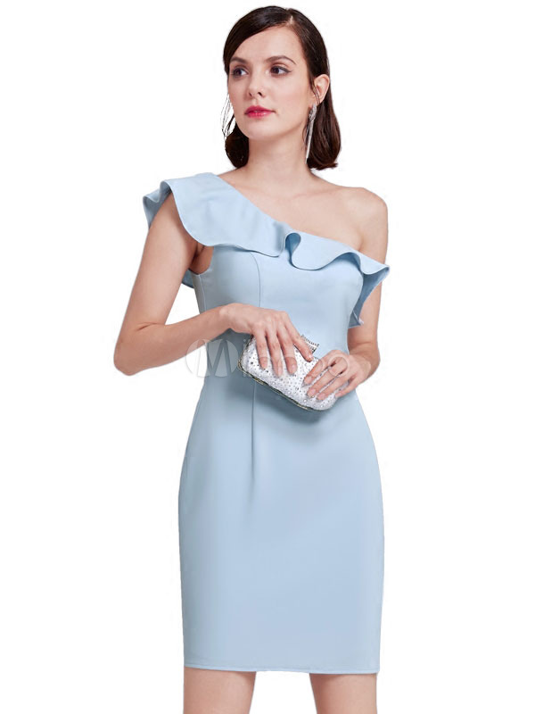 8a0336b0e259 Sheath Cocktail Dress One Shoulder Ruffles Short Bridesmaid Dress Pastel  Blue Party Dress-No.