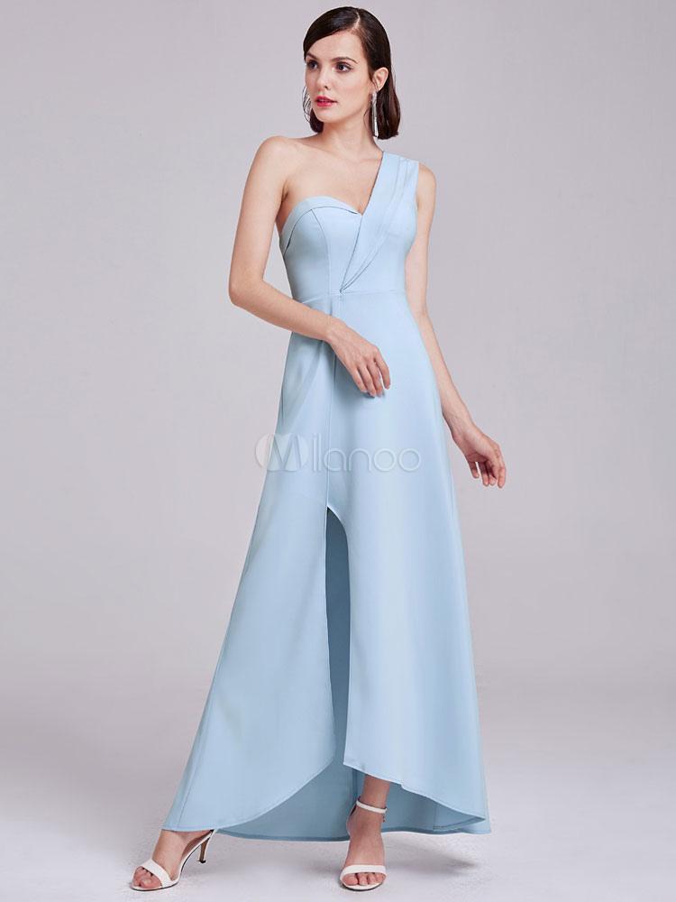 Erröten Brautjungferkleid mit unsymmetrischem Design und Schlitz an ...