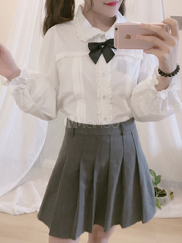Buy Classic Lolita Blouse Long Sleeve Peter Pan Collar Pleated Bowknot White Lolita Top for $24.29 in Milanoo store
