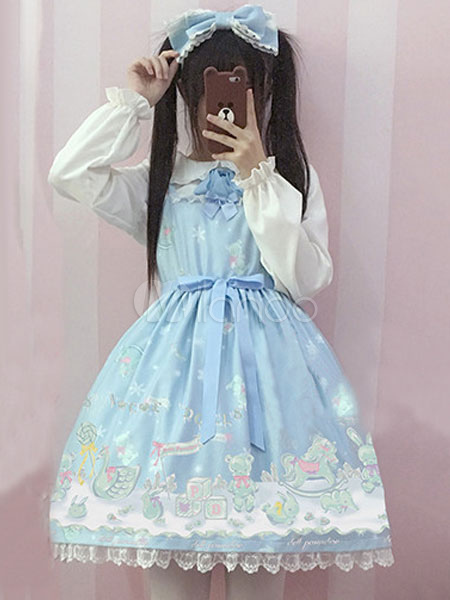 Buy Classic Lolita Blouse Ruffles Ribbons Long Sleeve Peter Pan Collar Bowknot White Lolita Top for $22.99 in Milanoo store