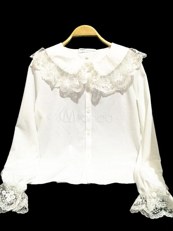 Buy Sweet Lolita Blouse Lace Ruffles Peter Pan Collar Long Sleeve Chiffon White Lolita Top for $23.39 in Milanoo store