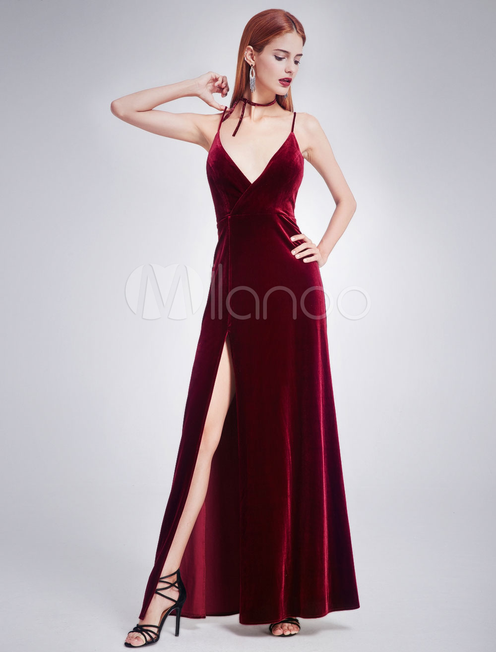 Velvet Prom Dress Long V Neck Burgundy Evening Dress High Split ...