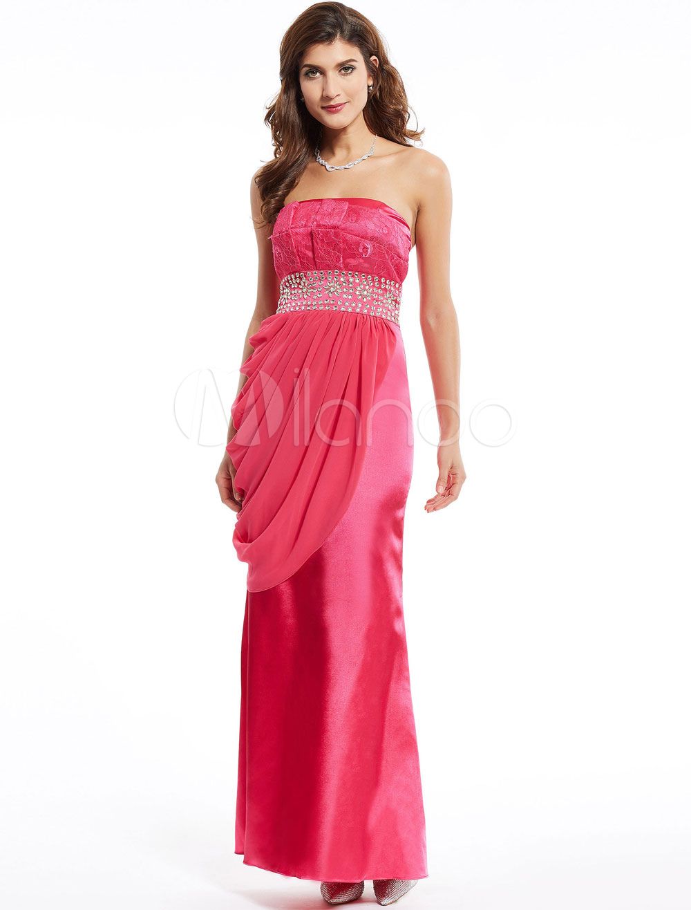 Buy Rose Evening Dresses Strapless Satin Prom Dresses Side Draped Beading Long Formal Dress for $83.59 in Milanoo store