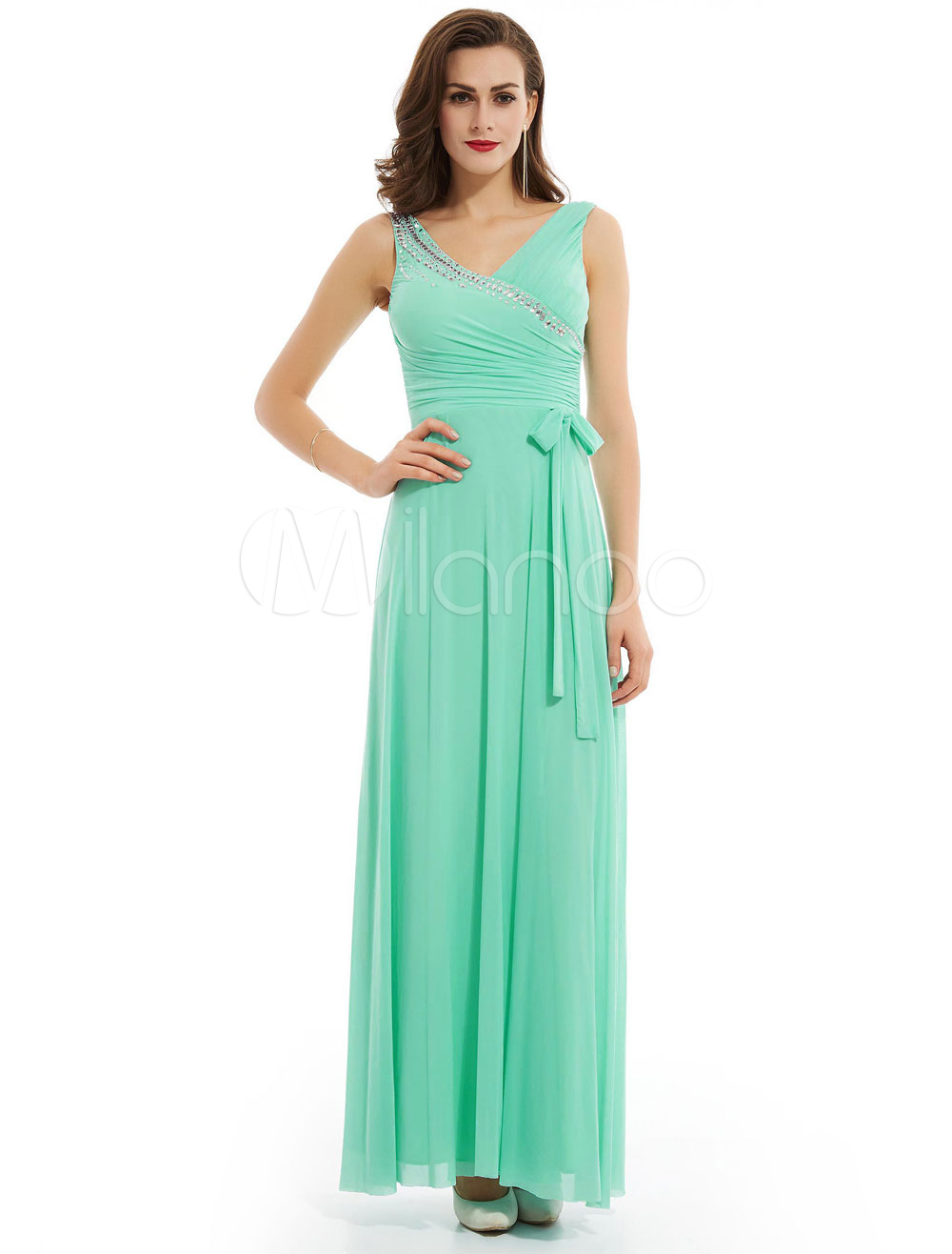 Buy Prom Dresses Long Mint Green V Neck Beading Ribbon Bow Chiffon Floor Length Formal Party Dress for $65.99 in Milanoo store