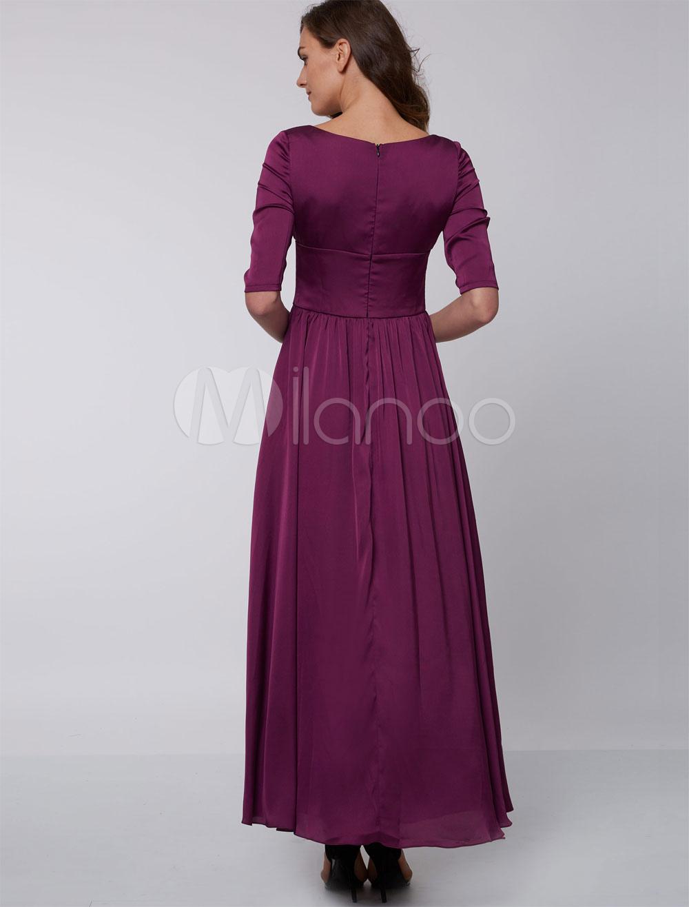 Vestidos de noche Formal ciruela Queen Anne cuello madre vestido de ...