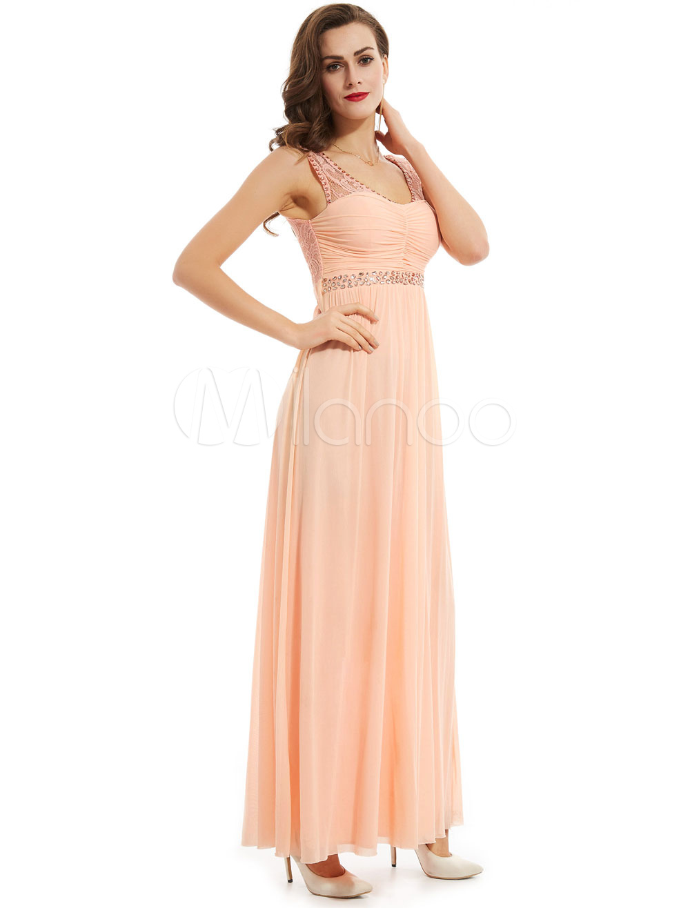 Buy Long Prom Dresses V Neck Peach Sleeveless Pleated Lace Beading Chiffon Formal Party Dress for $70.39 in Milanoo store