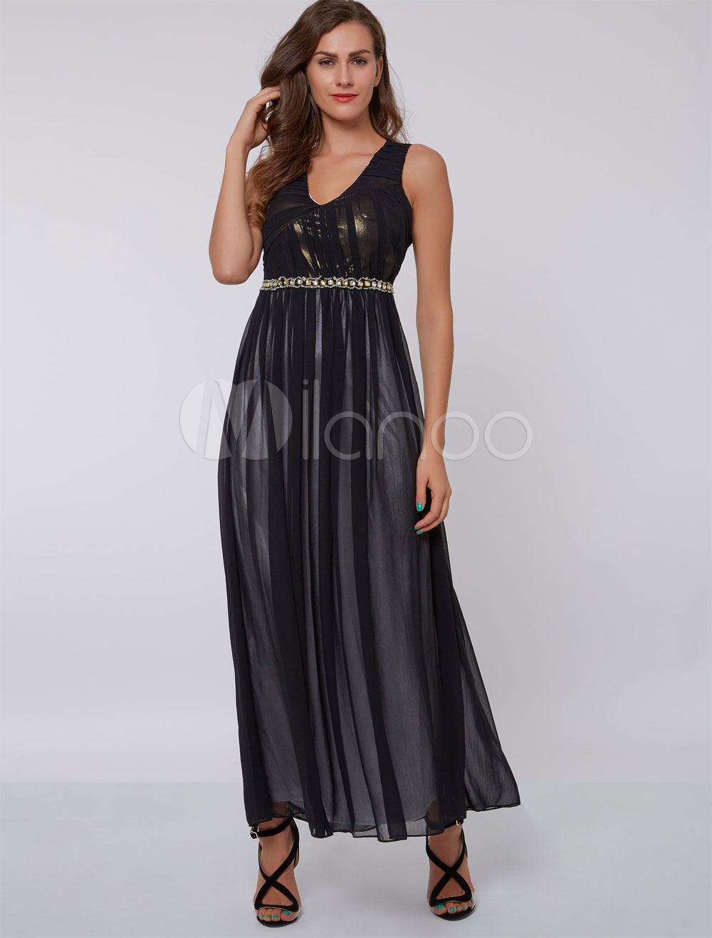 Mother Of The Bride Dresses Black V Neck Backless Beading Pleated Wedding Guest Dress