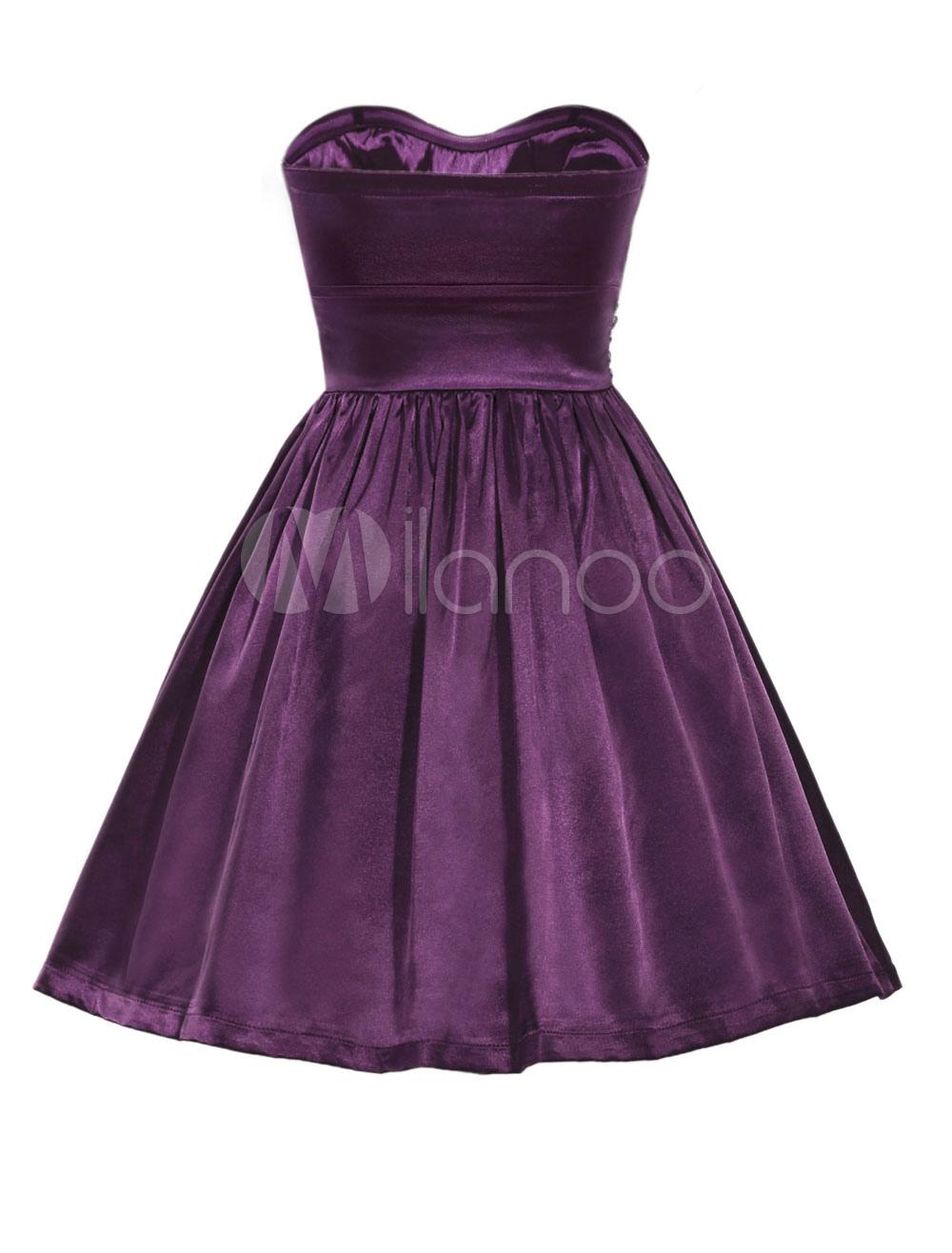 Mini vestido de cóctel satinado sin tirantes rebordear vestido de ...