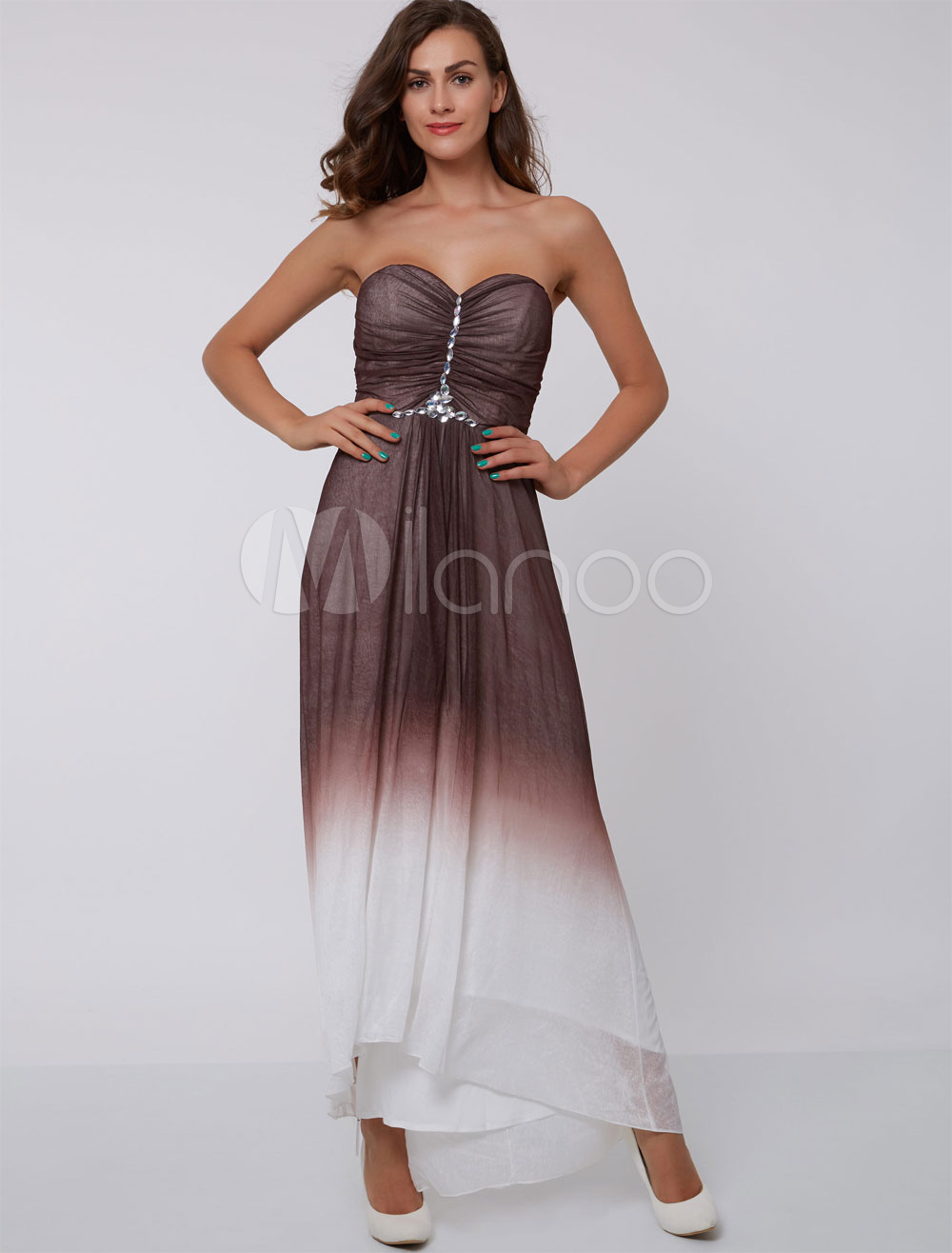 Long Prom Dresses Ombre Brown Strapless Formal Dress Sweetheart