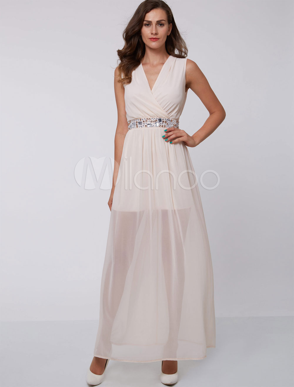 Prom Dresses Long V Neck Chiffon Ivory Beading Illusion Formal Party Dress