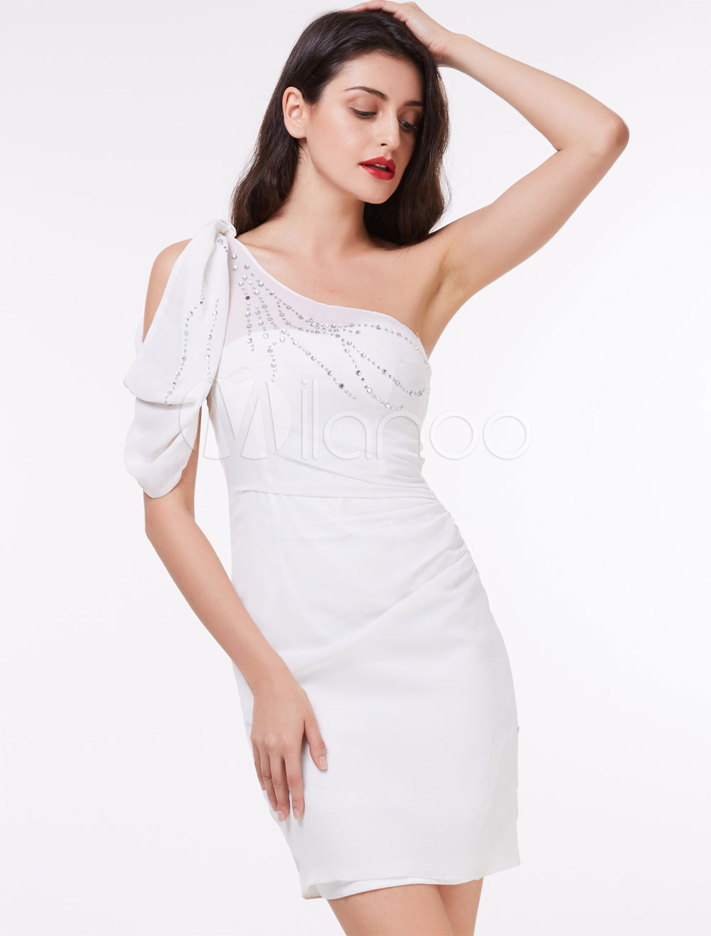 Buy White Cocktail Dresses Short Sheath One Shoulder Beading Column Mini Party Dresses for $61.59 in Milanoo store