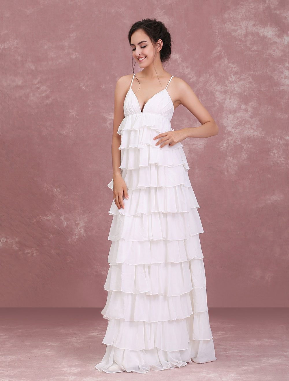 Beach Wedding Dresses Ivory V Neck Boho Wedding Gown Tiered Ruffles ...