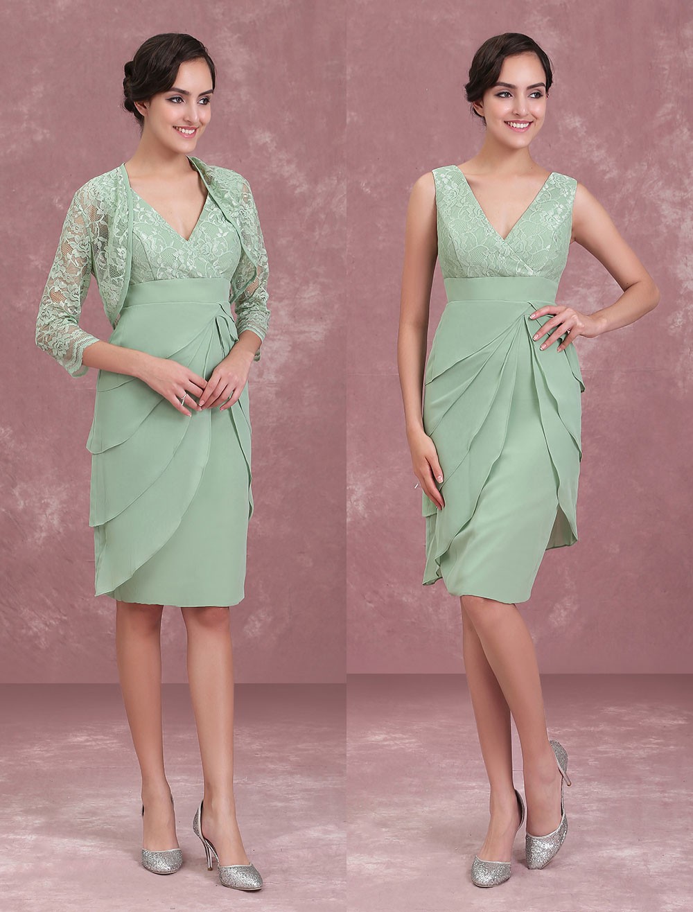 Buy Mother Of The Bride Dresses Two Piece Lace Chiffon Tiered Sage Green Short Sheath Wedding Guest Dress With Jacket for $136.39 in Milanoo store