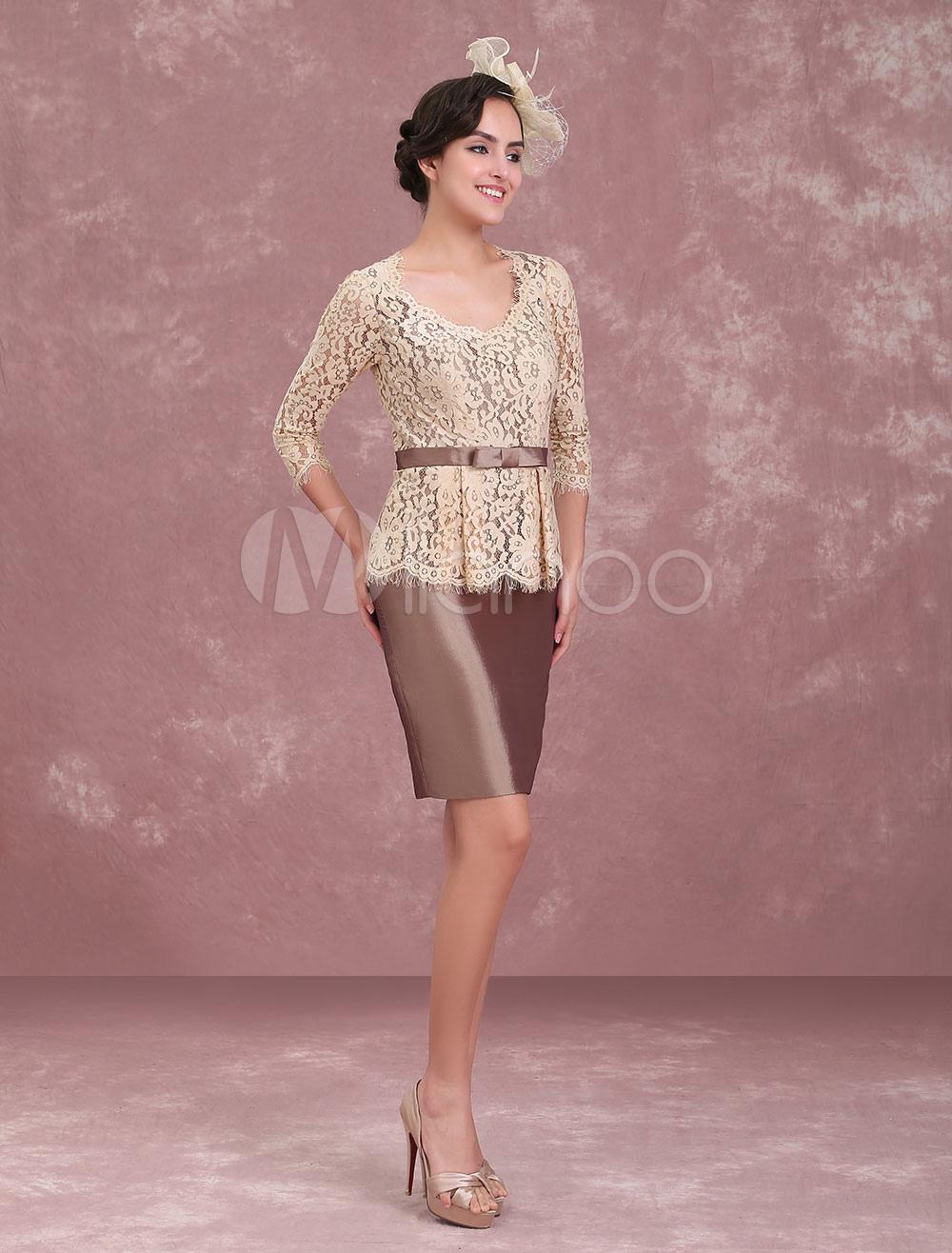 Mother Of The Bride Dresses Lace Taffeta Sash Sheath Brown Short Wedding Guest Dress