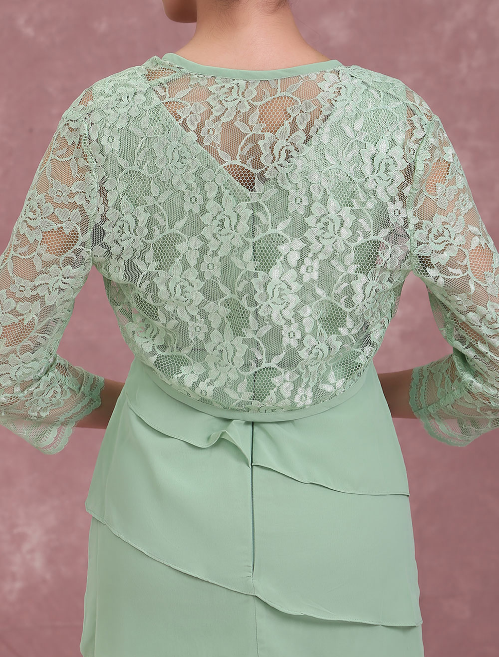 cb61bd39d90 ... Mother Of The Bride Dresses Two Piece Lace Chiffon Tiered Sage Green  Short Sheath Wedding Guest