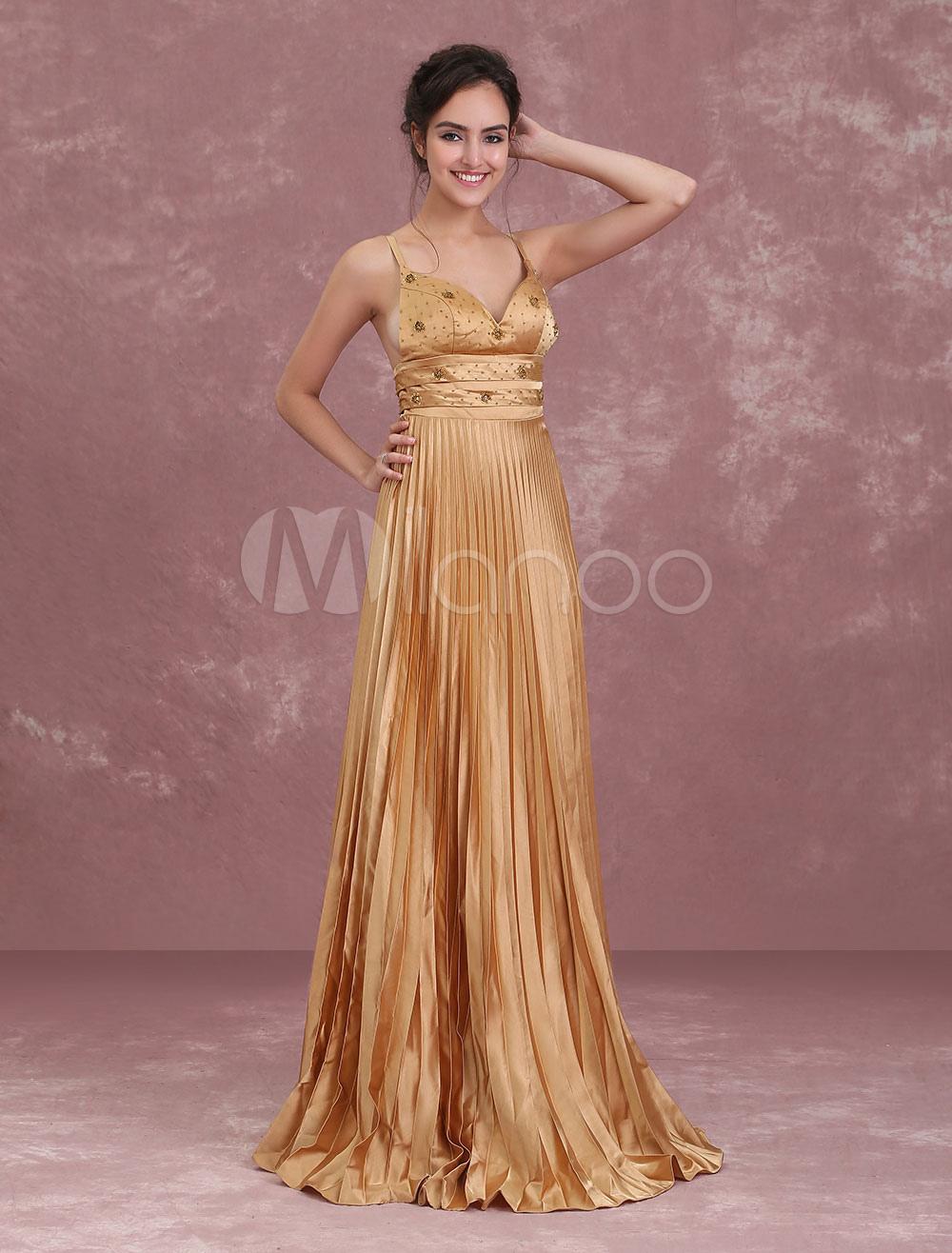 4f0ccef434d ... Long Homecoming Dresses Light Gold Pleated Satin Prom Dress Spaghetti  Straps Beaded Floor Length Formal Slip ...