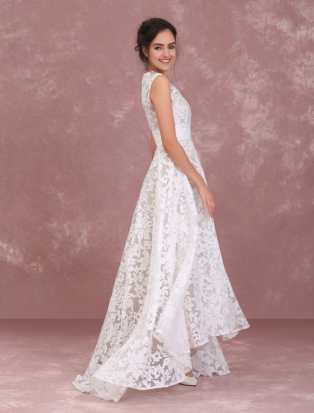 Champagne Wedding Dresses Lace High Low Beach Bridal Dress Pleated ...