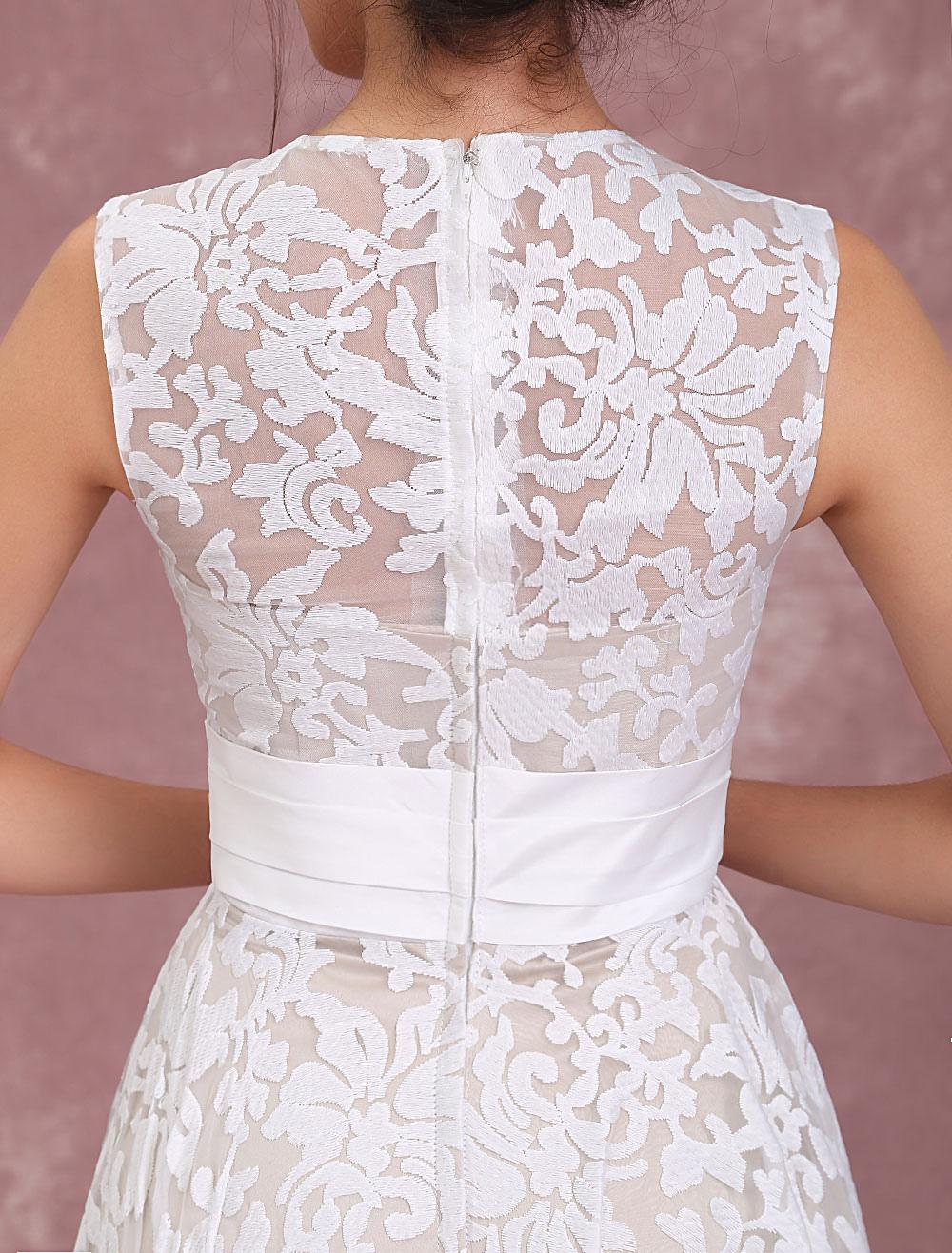 23a2f3d845 ... Champagne Wedding Dresses Lace High Low Beach Bridal Dress Pleated Sash  Asymmetrical Wedding Gown-No