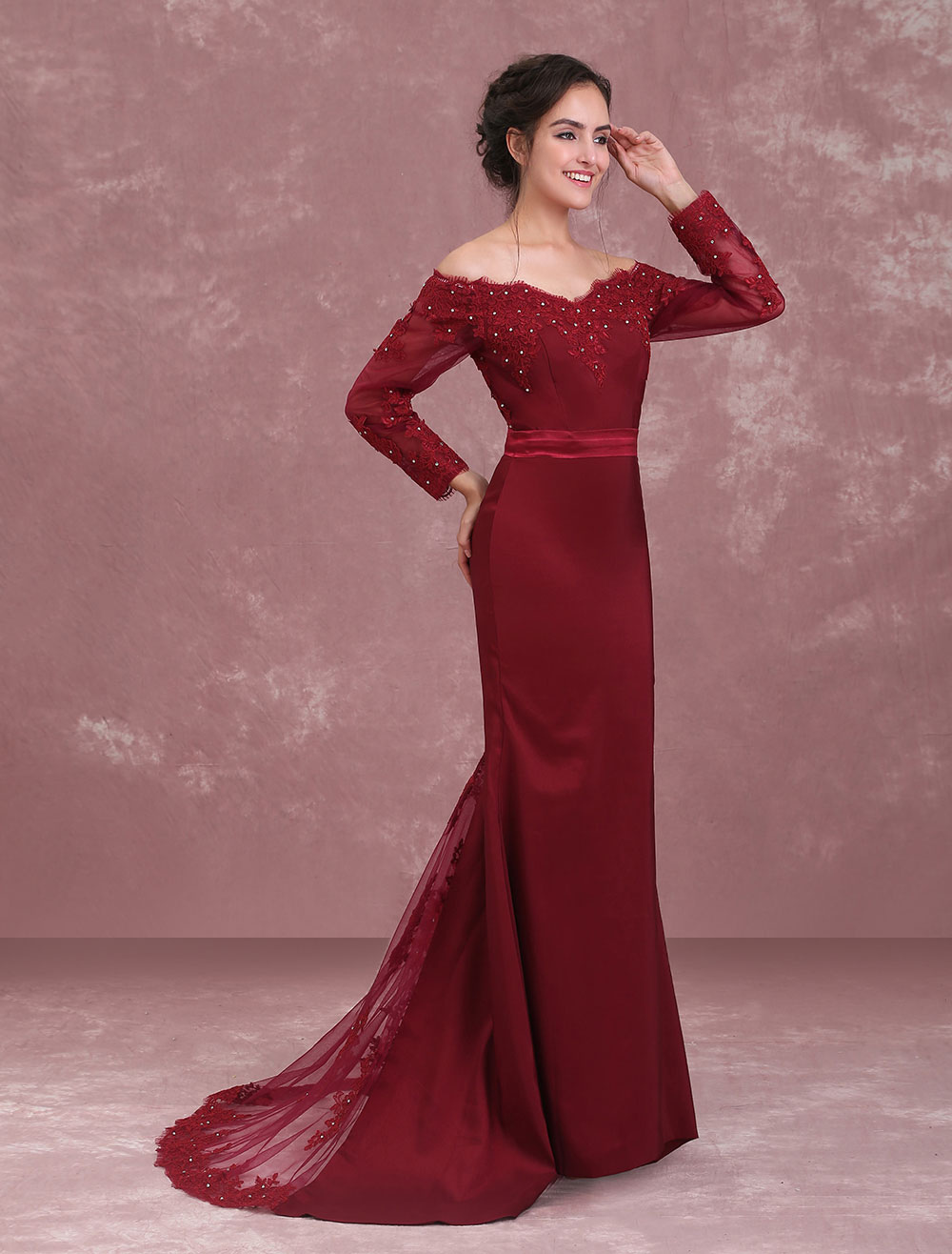 5b52e9fc708 Burgundy Evening Dresses Off The Shoulder Mother Of The Bride Dress Lace  Beaded Sash Long Sleeve ...