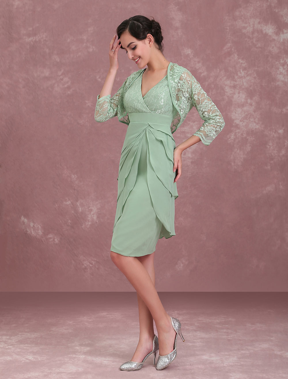 f89c71c5dc ... Mother Of The Bride Dresses Two Piece Lace Chiffon Tiered Sage Green  Short Sheath Wedding Guest ...