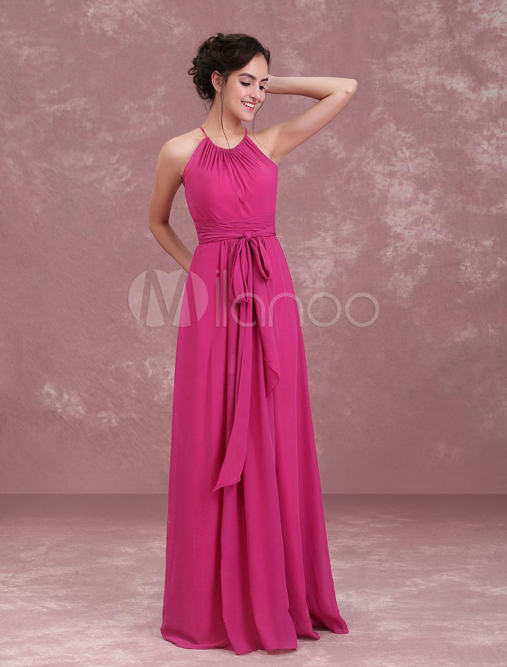 Vestido de Dama de Honor Largo de línea A con faja hasta el suelo de ...