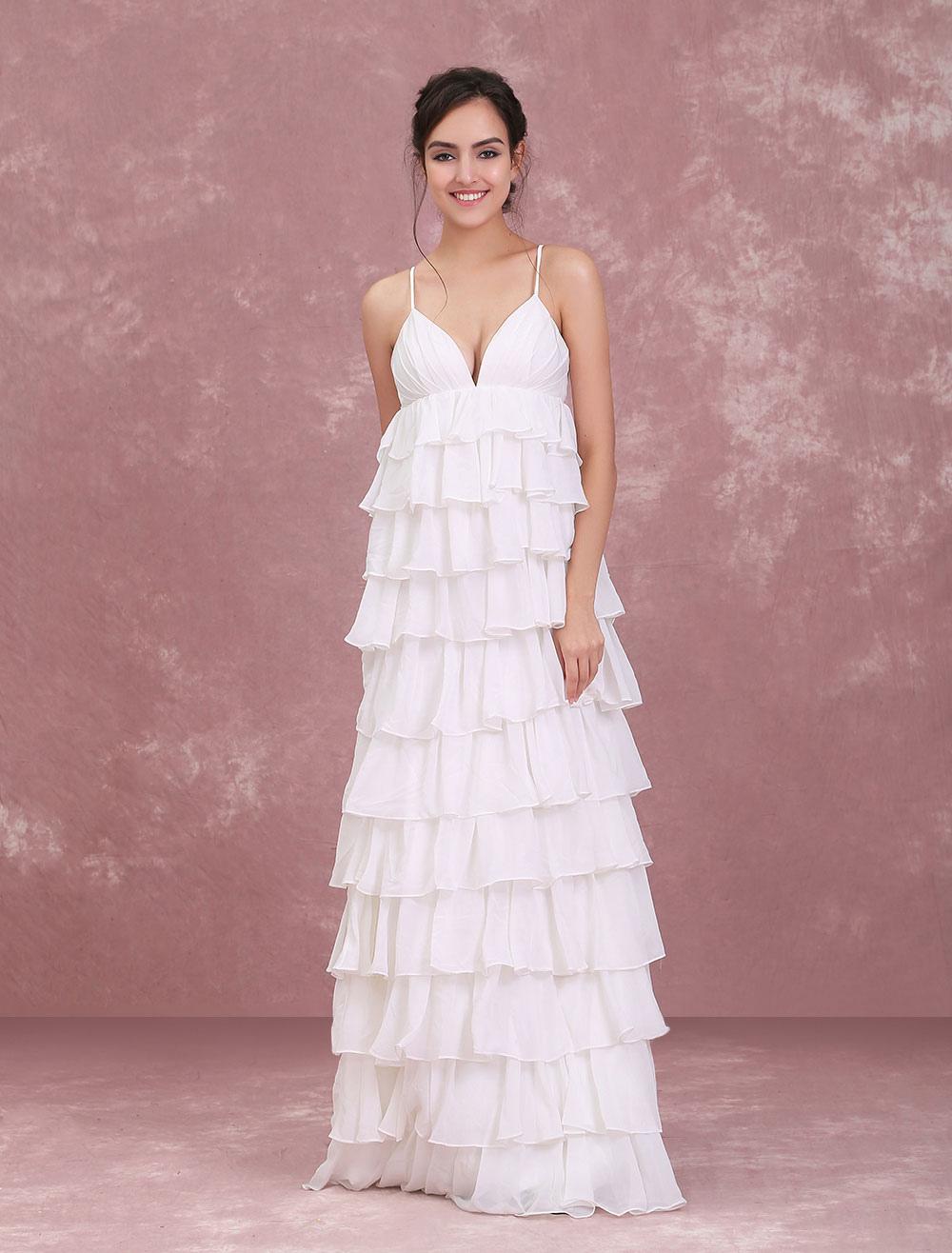 Strand Brautkleider Elfenbein V-ausschnitt Boho Hochzeitskleid ...