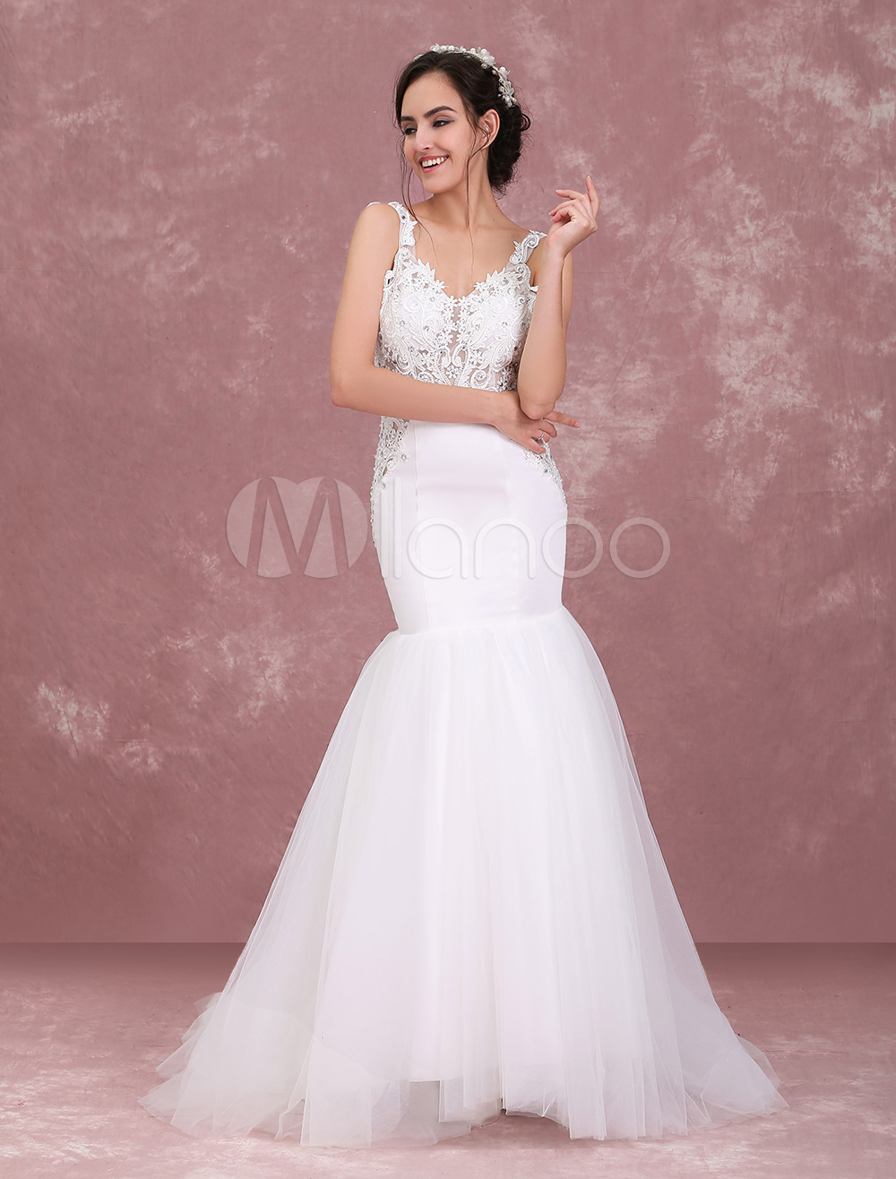Ivory Wedding Dresses Backless Mermaid Bridal Dress Lace Beading V Neck Tulle Satin Wedding Gown