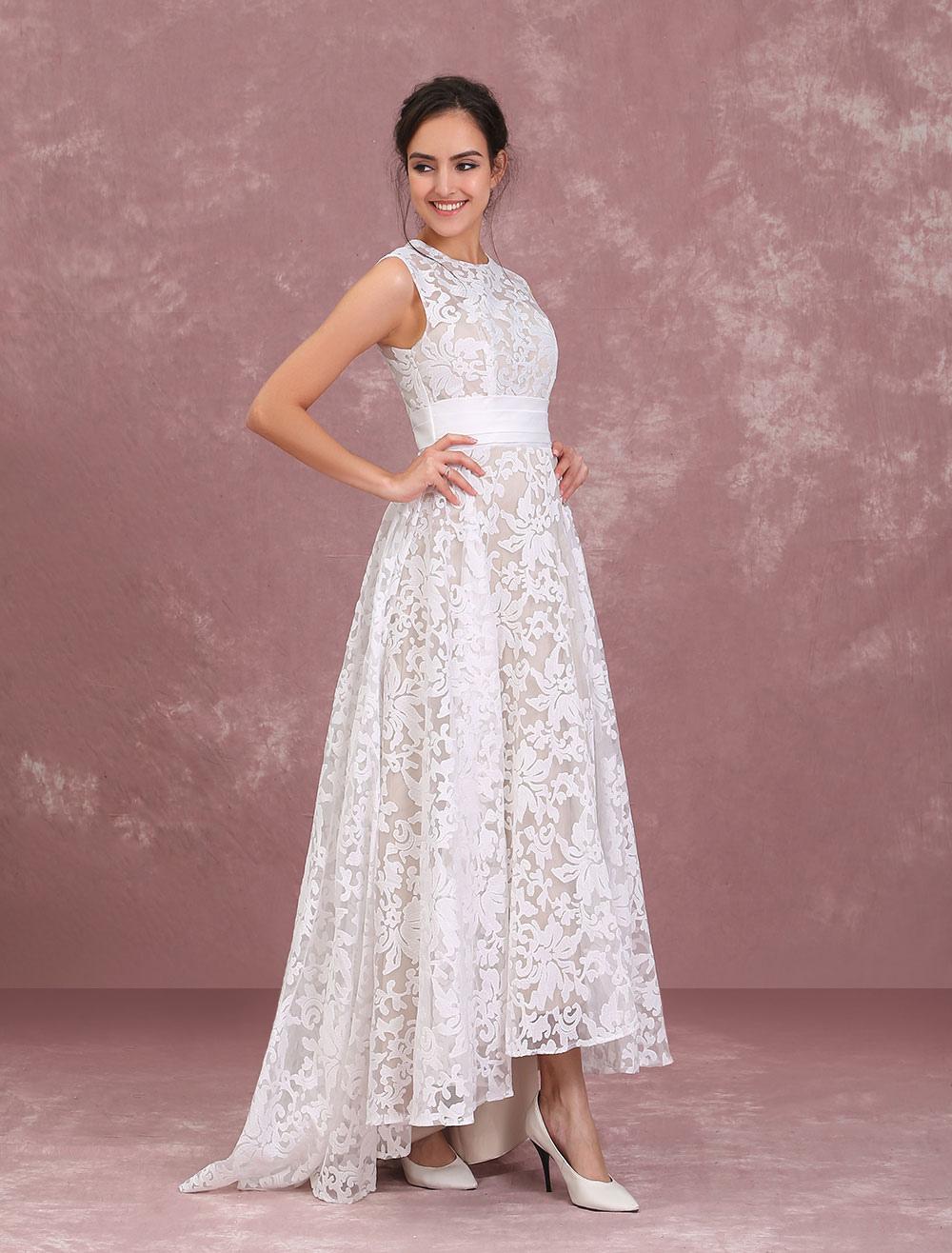 robes de mari e de champagne dentelle haute basse robe de