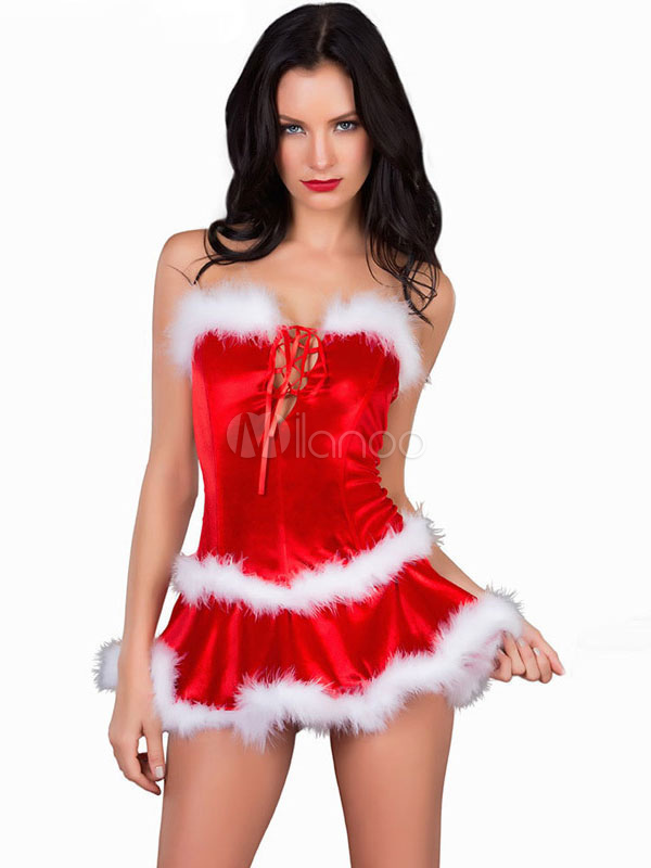 Buy Christmas Gift Costume Red Velour Women Two Tone Mini Dress Christmas Sexy Costume for $21.99 in Milanoo store
