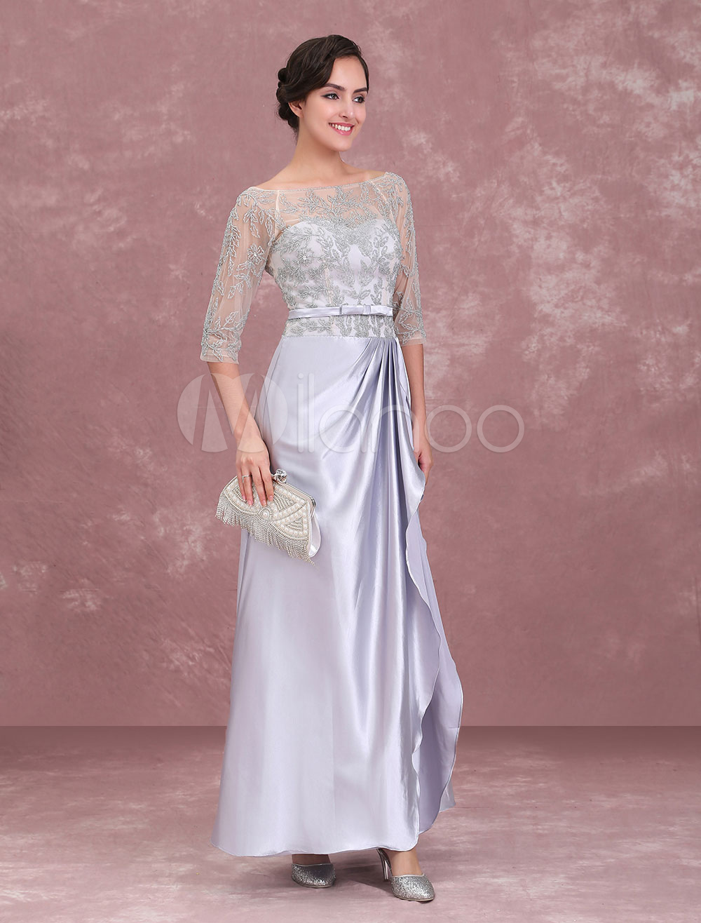 Mother Of The Bride Dresses Silver Beading Bateau Half Sleeve Sash Pleated Floor Length Wedding Guest Dress
