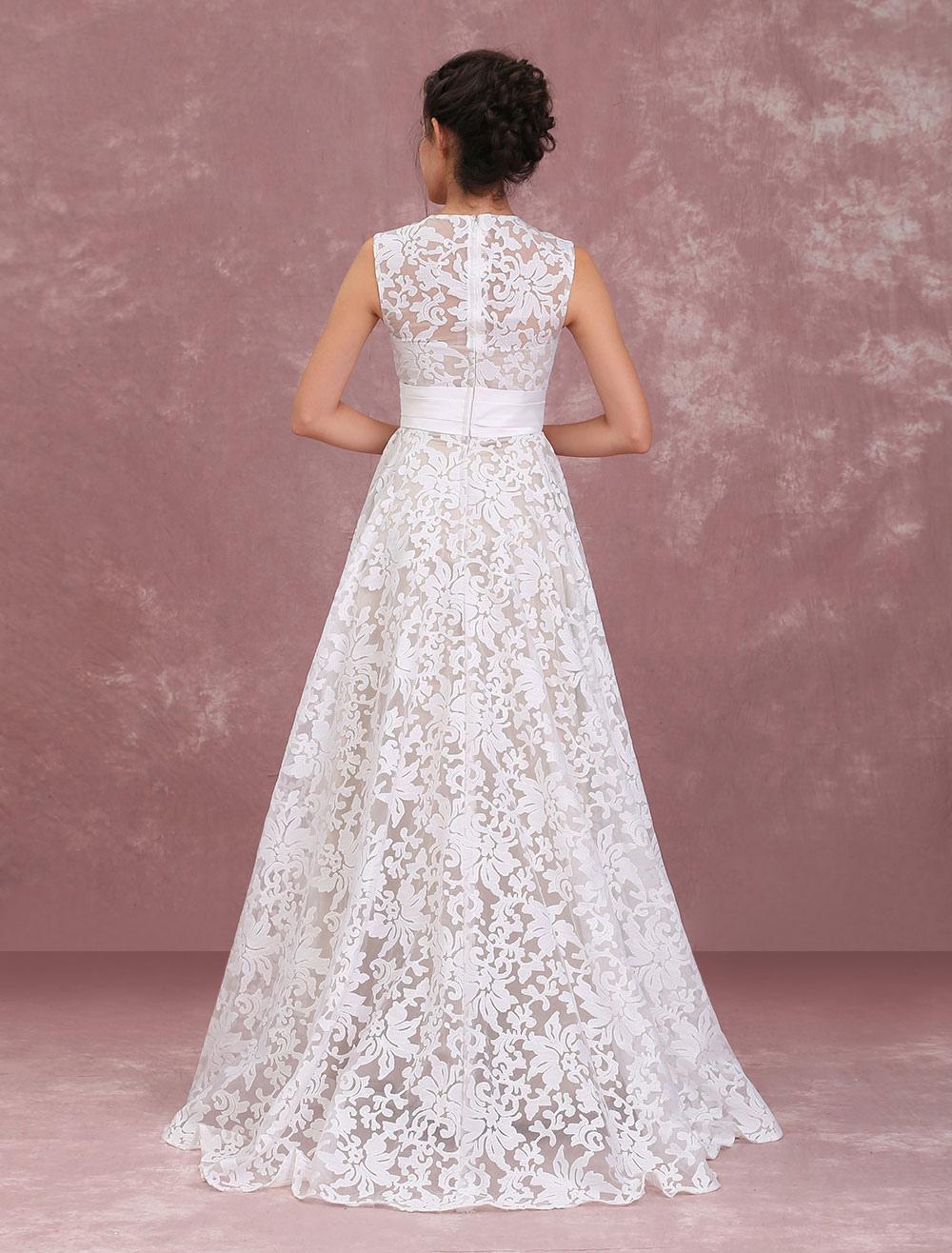295be79b81 ... Champagne Wedding Dresses Lace High Low Beach Bridal Dress Pleated Sash  Asymmetrical Wedding Gown-No ...