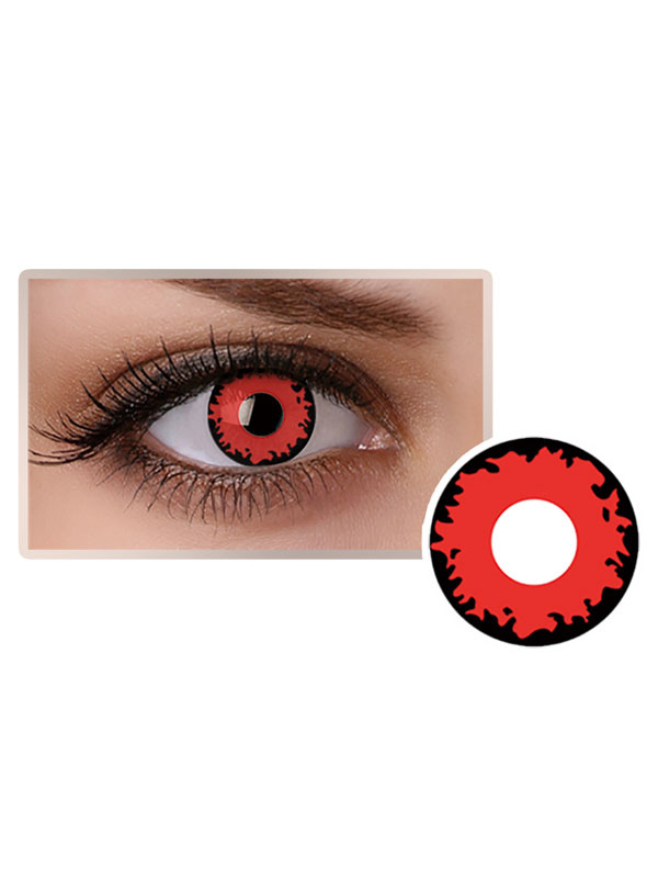 Red Fire Eye Contact Lenses Cosmetic Cosplay Party Coloured Circle Lens
