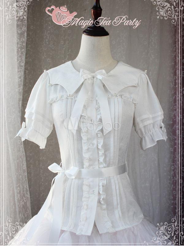 Buy Classic Lolita Blouse Magic Tea Party Short Sleeve Bows Ruffles Chiffon White Lolita Top for $44.09 in Milanoo store