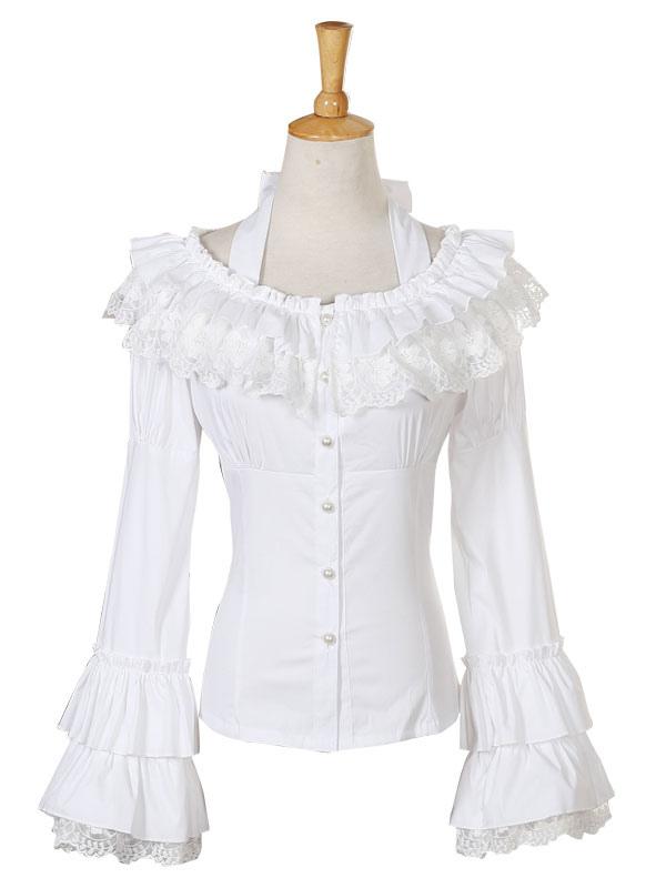 Rococo Lolita Blouse Chiffon Bell Sleeve Lace Ruffles Frills Scoop Neck White Lolita Top