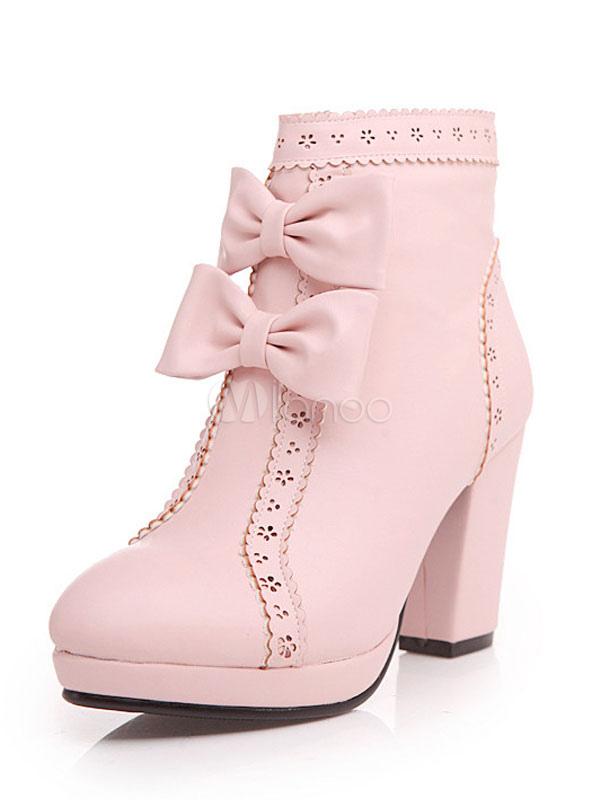 Sweet Lolita Ankle Boots Platform Prism Heel Round Toe Bows PU Pink Lolita Winter Booties