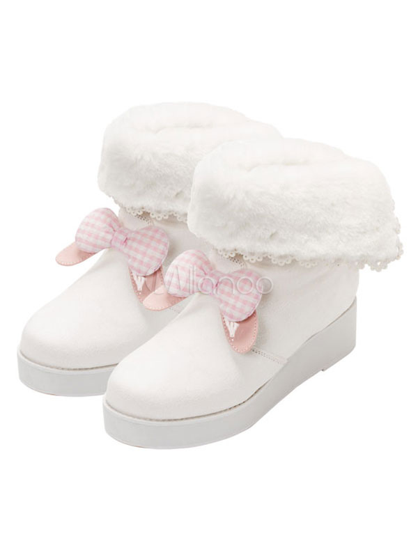 Classic Lolita Snow Boots Bows Platform Shearling White Lolita Winter Booties