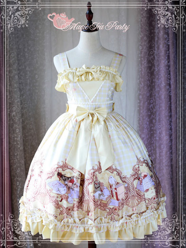 Buy Classic Lolita JSK Jumper Skirt Magic Tea Party Chiffon Straps Bows Ruffles Frills Birds Printed Daffodil Lolita Dress for $125.99 in Milanoo store