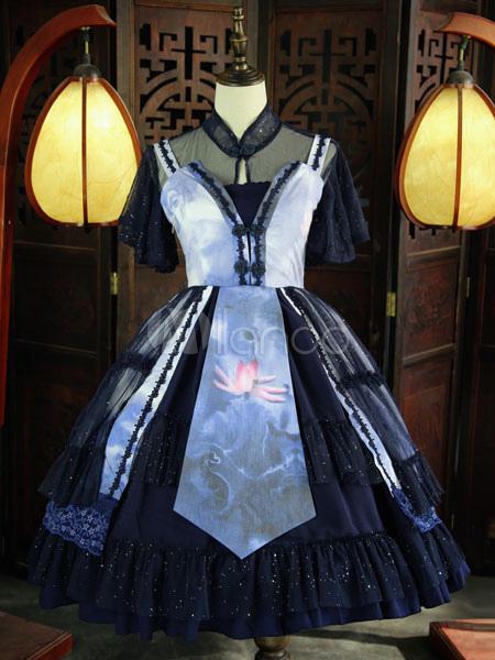 Hanfu Lolita Outfits Chiffon Short Sleeve Stand Collar Floral Print Dark Navy JSK Jumper Skirt Set In 6 Pieces