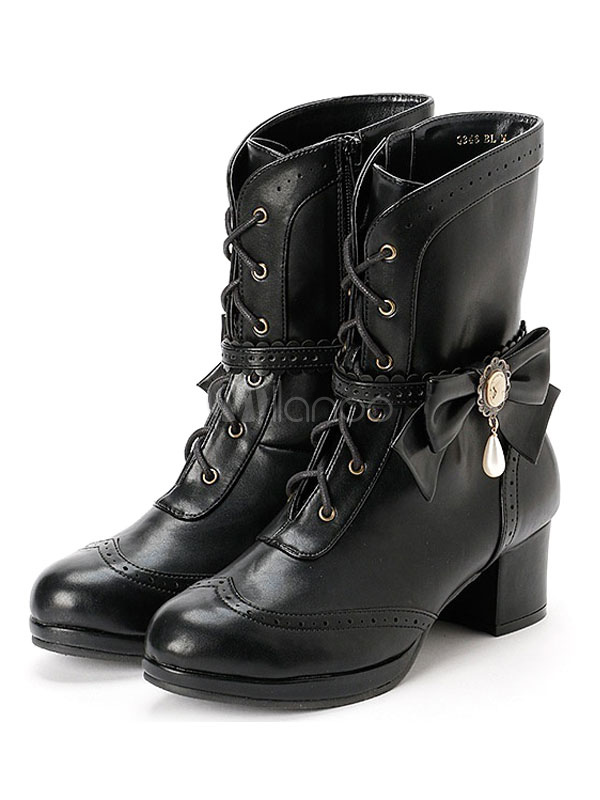 Classic Lolita Ankle Boots Round Toe Chunky Heel Lace Up Bows Black Lolita Winter Booties