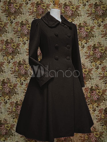 Buy Classic Lolita Coat Wool Long Sleeve Turndown Collar Lace Up Black Lolita Dress Coat for $163.99 in Milanoo store