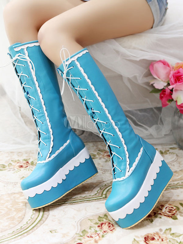 Harajuku Lolita Boots Square Toe Platform Two Tone Lace Up Blue Lolita Winter Knee High Boots